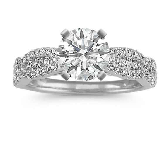 Cathedral Diamond Engagement Ring with Pave-Set Diamonds