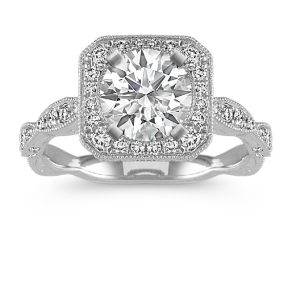 Round Vintage Halo Diamond Engagement Ring with Pave Setting