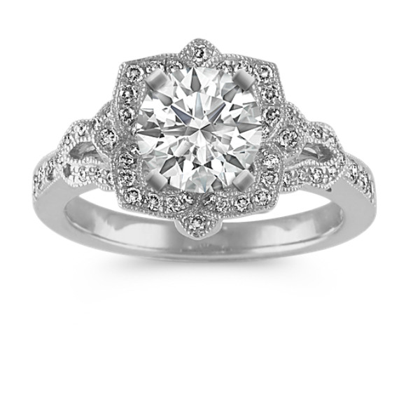 Vintage Floral Halo Diamond Engagement Ring in 14k White Gold