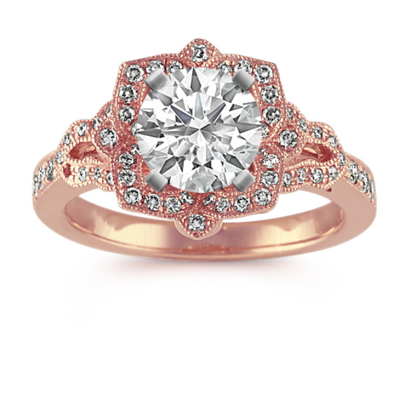 Vintage Floral Halo Diamond Engagement Ring in 14k Rose Gold