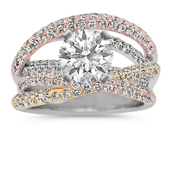 Overlapping Round Diamond Engagement Ring in 14k Tri-Tone Gold