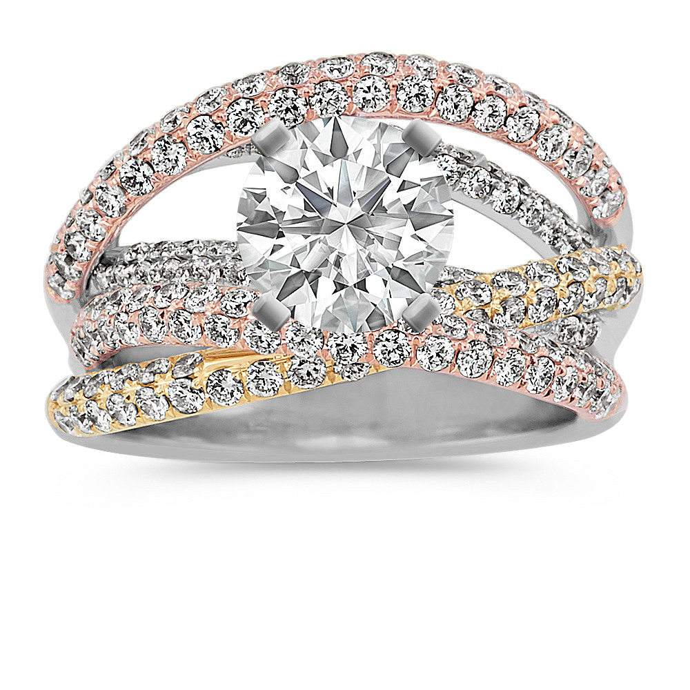 Overlapping Round Diamond Engagement Ring In 14k Tri Tone Gold Shane Co