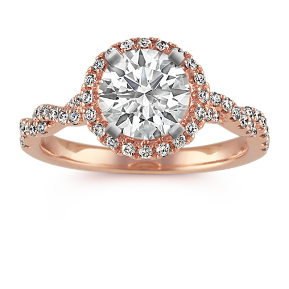 Halo Twist Diamond Engagement Ring in 14k Rose Gold