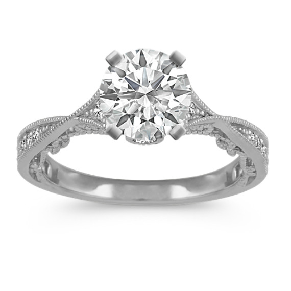 Vintage Cathedral 14k White Gold Engagement Ring