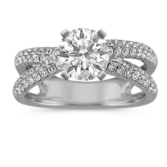 Contemporary Round Diamond Engagement Ring in 14k White Gold