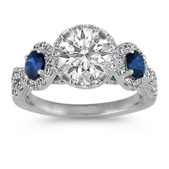 Three-Stone Sapphire and Diamond Halo Engagement Ring