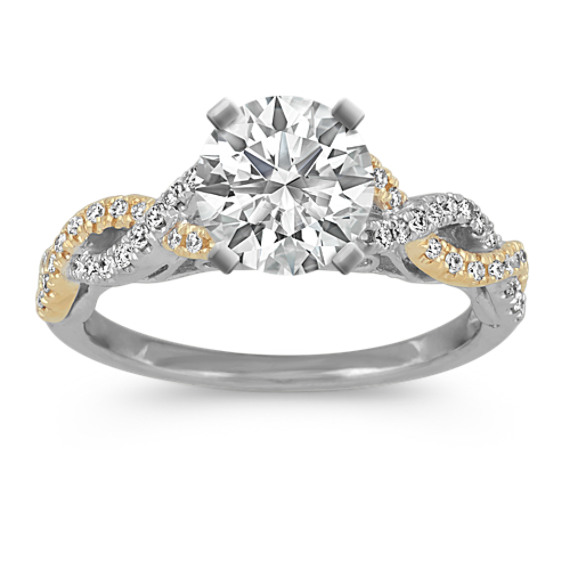 Round Diamond Swirl Cathedral Engagement Ring in 14k White and Yellow Gold