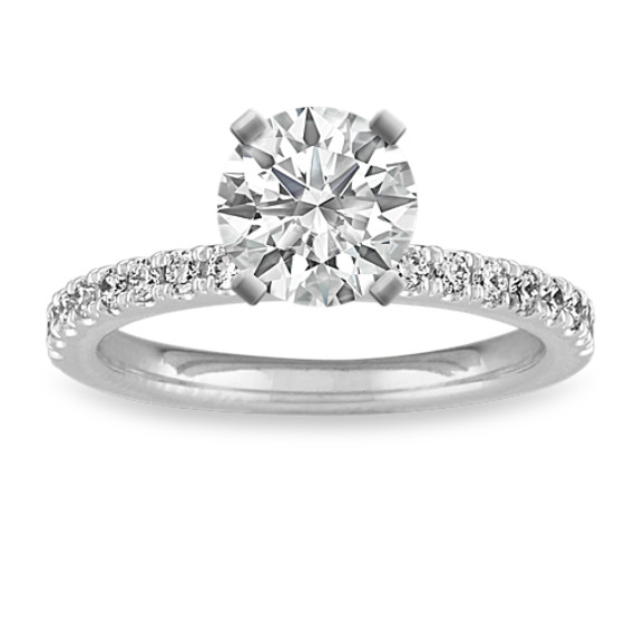 Diamond Engagement Ring with Pave Setting in 14k White Gold (Sz 4)