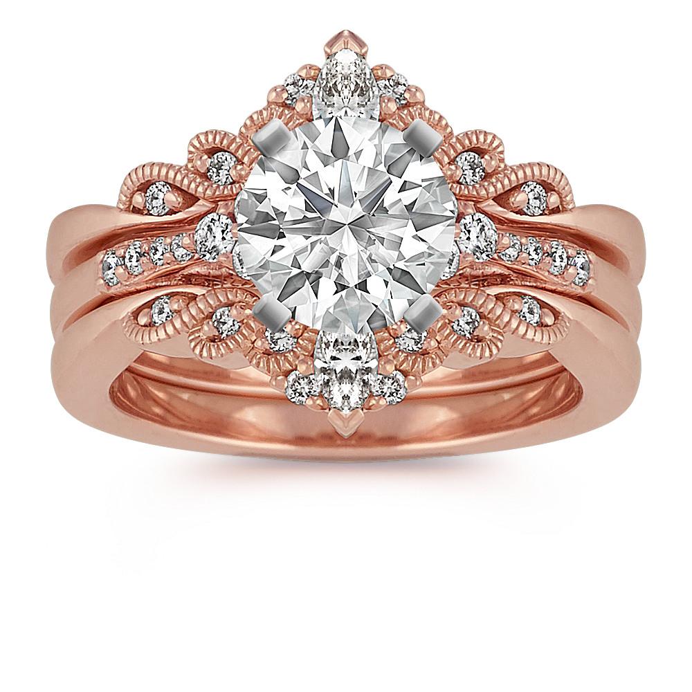 Vintage Diamond Wedding Set In 14k Rose Gold Shane Co