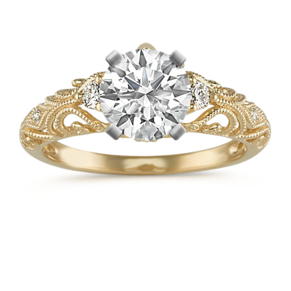 Vintage Diamond Engagement Ring in 14k Yellow Gold