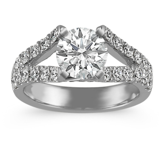 Cathedral Diamond Engagement Ring in Platinum