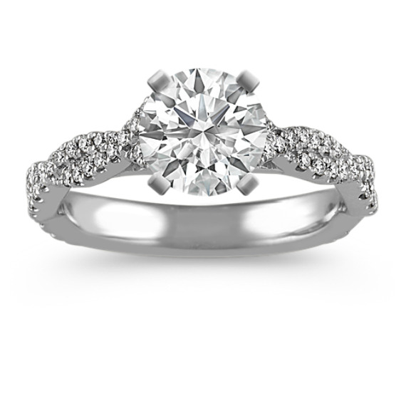 Swirl Cathedral Engagement Ring in Platinum