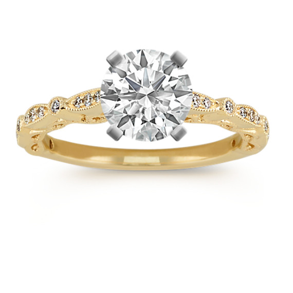 Vintage Diamond Engagement Ring 14k Yellow Gold