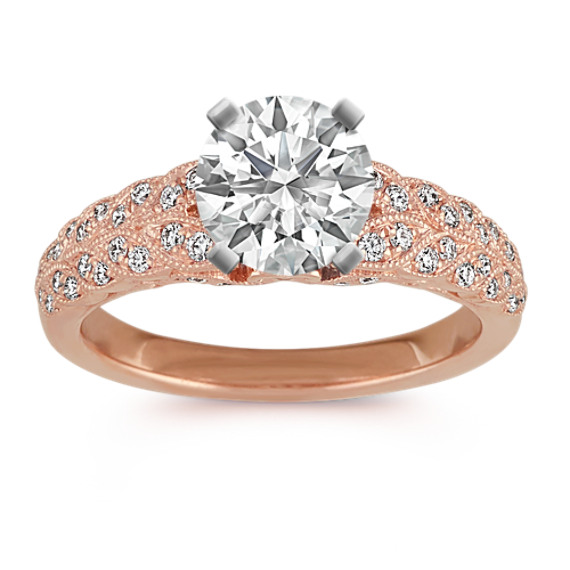 14k Rose Gold Vintage Leaf Diamond Engagement Ring