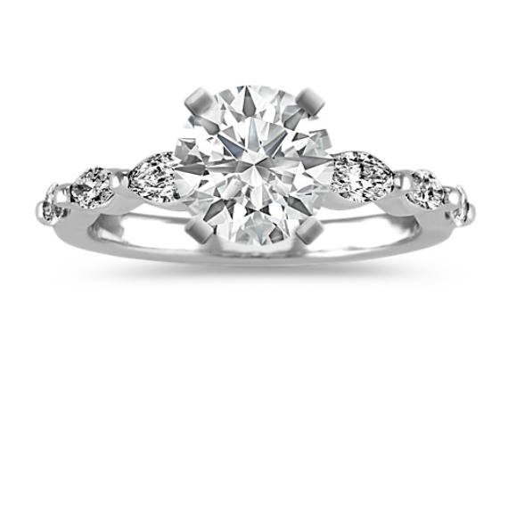 Pave-Set Marquise Diamond Engagement Ring
