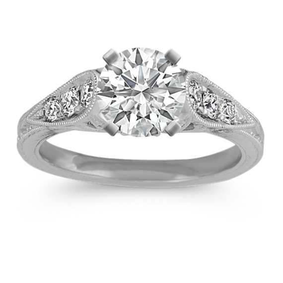 Vintage Cathedral Engagement Ring in Platinum