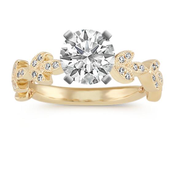 Vintage Leaf Round Diamond Engagement Ring