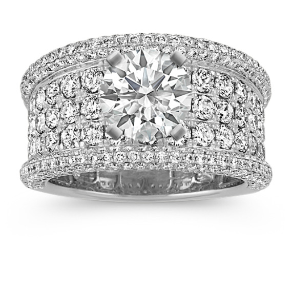 Pave-Set Round Diamond Engagement Ring