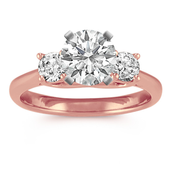 Three-Stone Engagement Ring in 14k Rose Gold