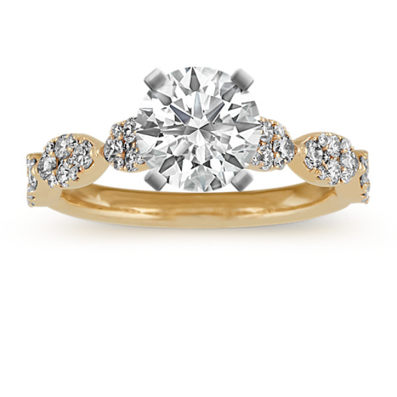 Cathedral Round Diamond Engagement Ring