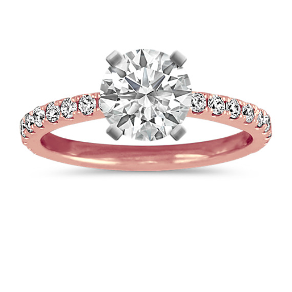 Pave-Set Diamond Engagement Ring in 14k Rose Gold