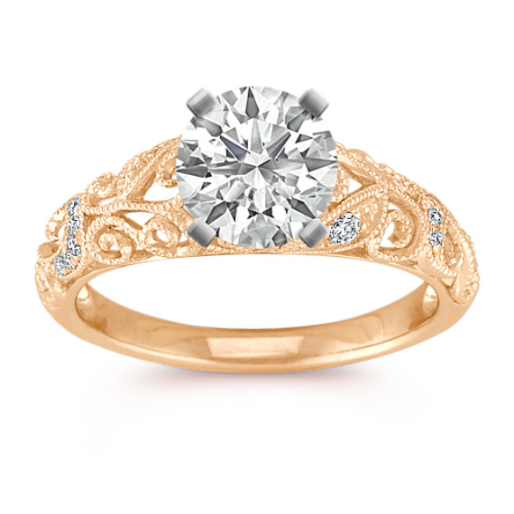 Vintage Diamond Engagement Ring with Pave Setting in Yellow Gold