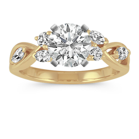 Marquise and Round Diamond Swirl Engagement Ring in 14k Yellow Gold