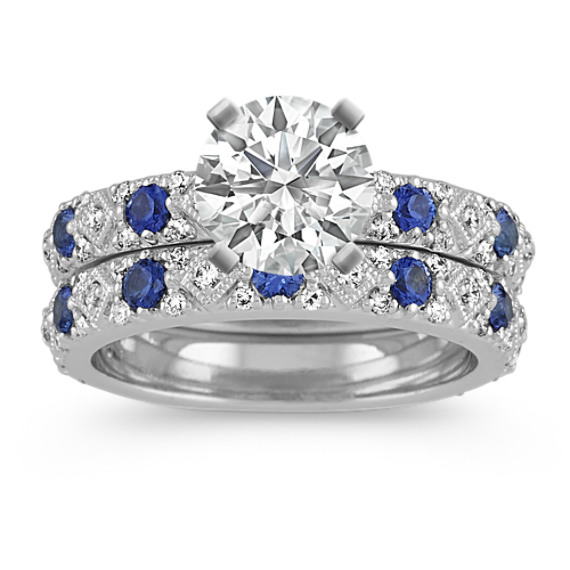Traditional Blue Sapphire and Diamond Wedding Set in 14k White Gold
