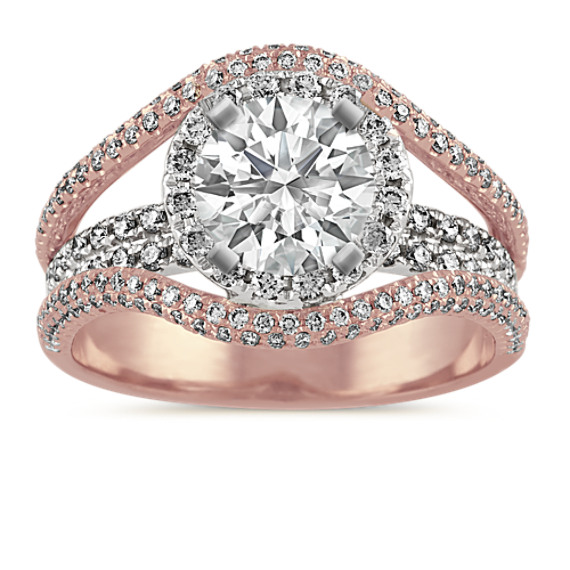 Halo Diamond Engagement Ring in 14k Two-Tone Gold