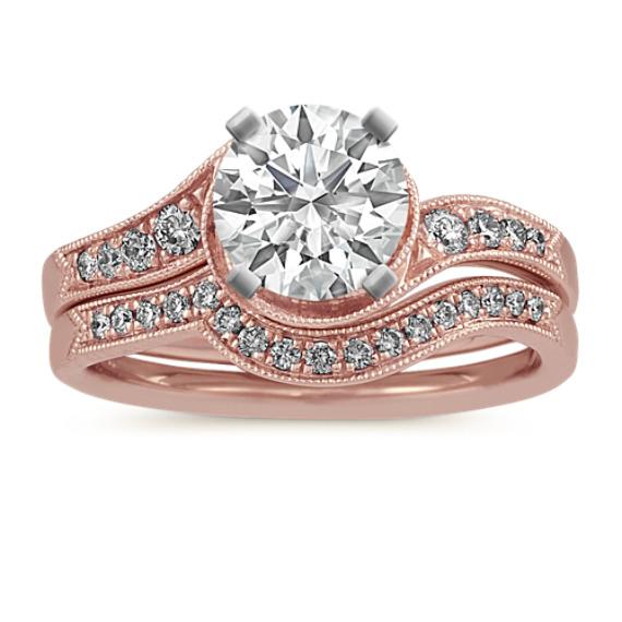 Vintage Swirl Engagement Ring in 14k Rose Gold