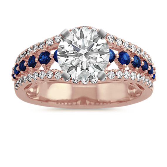 Traditional Blue Sapphire and Diamond Engagement Ring