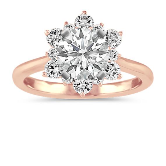 Diamond Star Halo Engagement Ring in 14k Rose Gold