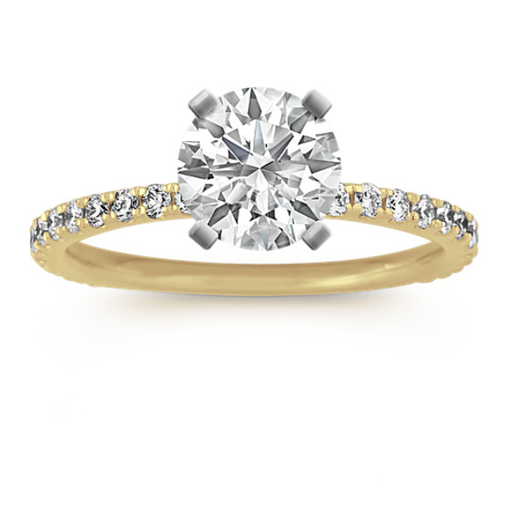 Pave-Set Diamond Engagement Ring in 14k Yellow Gold (Sz 4)
