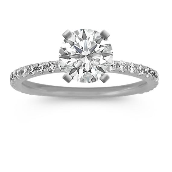 Pave-Set Diamond Engagement Ring in 14k White Gold (Sz 4)