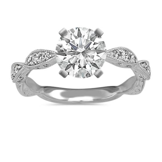 Vintage Scalloped Diamond Engagement Ring