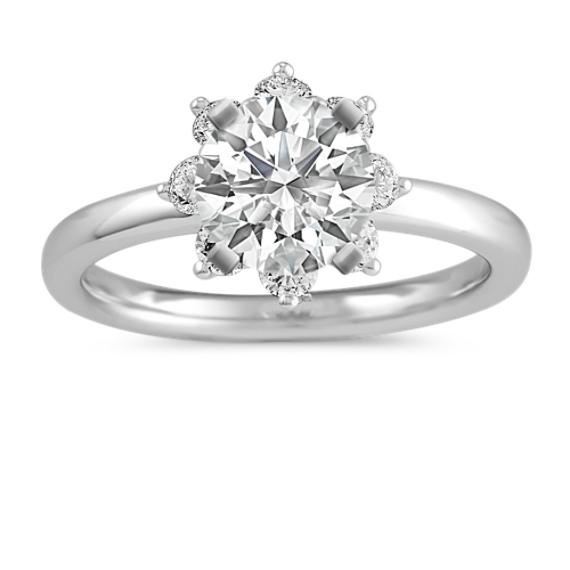 Round Diamond Star Halo Engagement Ring
