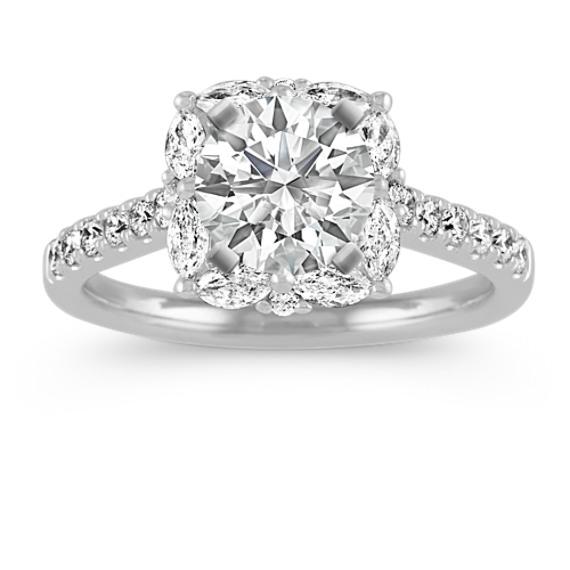 Pave-Set Diamond Halo Engagement Ring