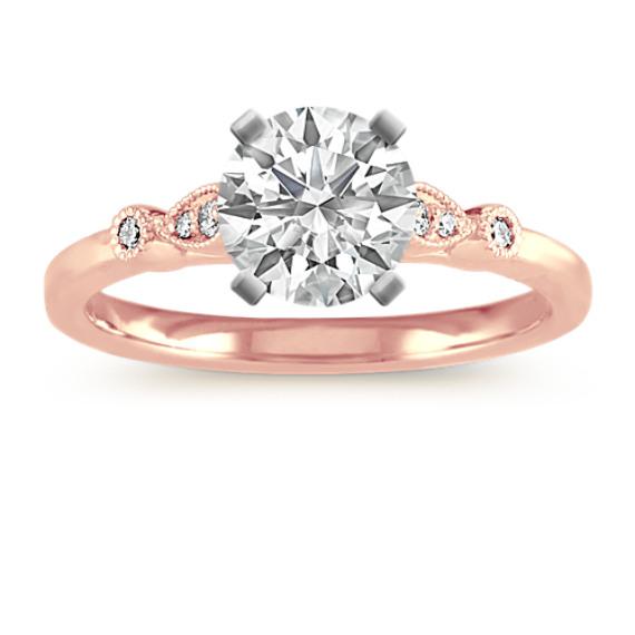 Vintage Cathedral Engagement Ring in 14k Rose Gold