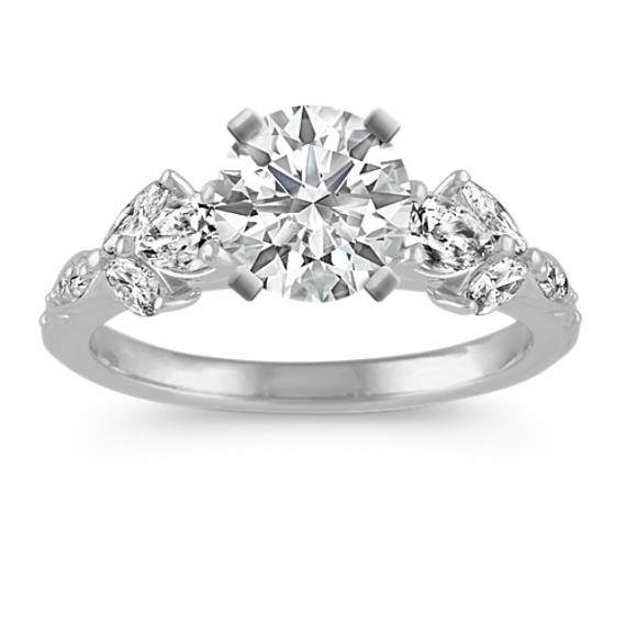 Cathedral Diamond Engagement Ring in 14k White Gold