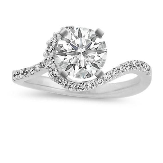 Diamond Swirl Ring for 1 ct Round Gemstone