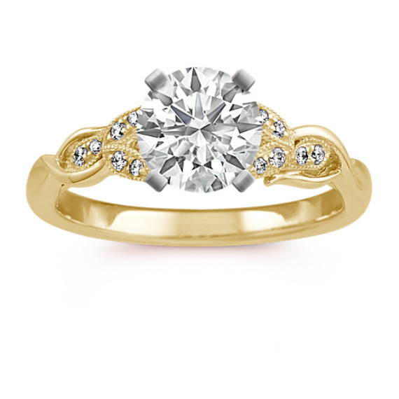 Vintage Diamond Cathedral Engagement Ring