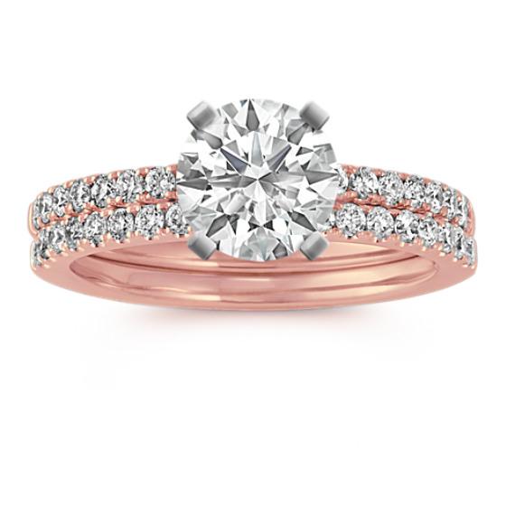 14k Rose Gold Pave-Set Round Diamond Wedding Set