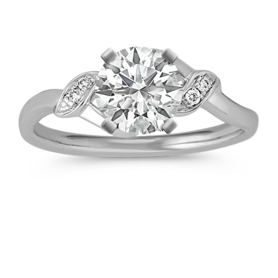 Round Diamond Vine Ring in 14k White Gold