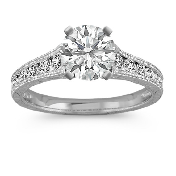 Vintage Cathedral Diamond Engagement Ring in 14k White Gold