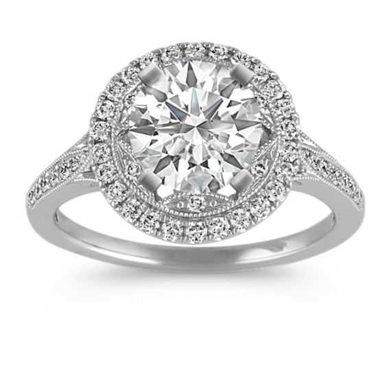 Round Diamond Halo Vintage Engagement Ring with Pave Setting