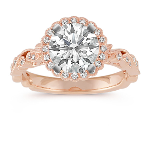 Halo Vintage Round Diamond Engagement Ring in 14k Rose Gold