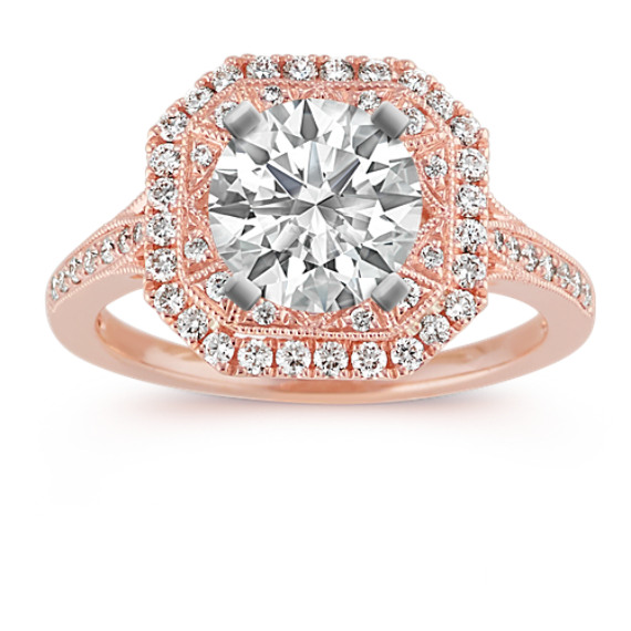 Double Halo Vintage Engagement Ring in 14k Rose Gold