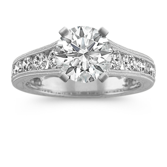 Vintage Cathedral Round Diamond Engagement Ring with Channel-Setting
