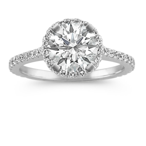 Halo Diamond Engagement Ring for 1.25 Carat Round in 14k White Gold
