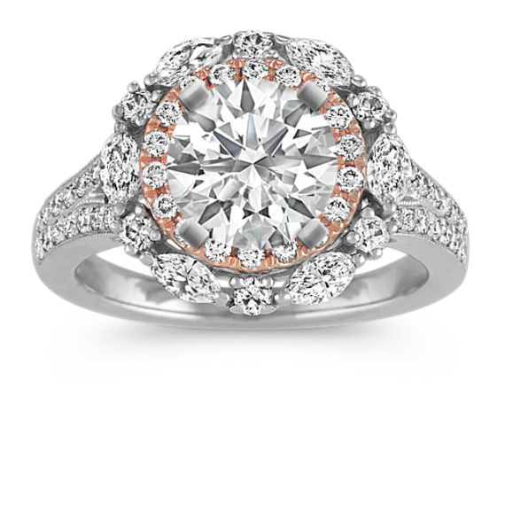14k Two-Tone Double-Halo Diamond Engagement Ring